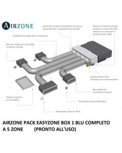 AIRZONE PACK EASYZONE BOX 1 BLU COMPLETO A 5 ZONE (PRONTO ALL'USO)