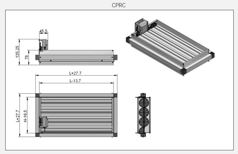 Tabella Tecnica Serranda Motorizzata per Canale Airzone CPRC